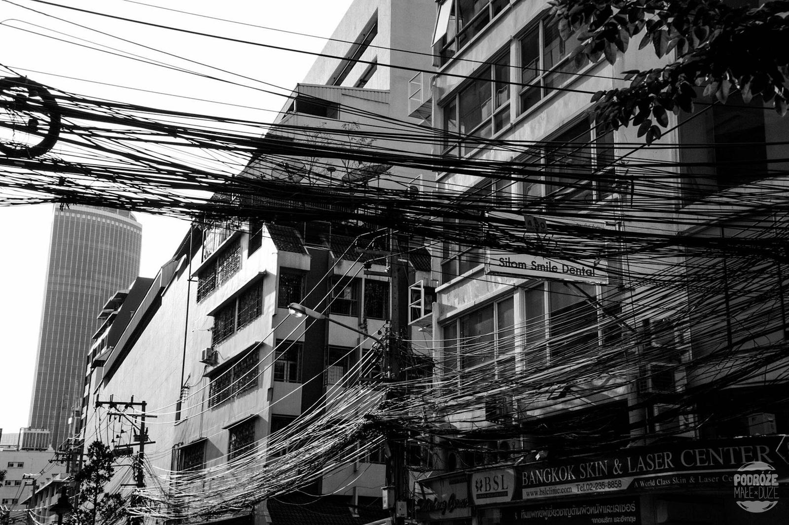 Plątanina kabli. Dzielnica China Town. Tajlandia podczas podróży Azja z plecakiem.